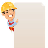 Builder looking at blank poster Stock Photo