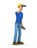 Builder looks into the distance Stock Photo