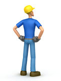 Builder looks into the distance. Illustration of an abstract character on a white background for use in presentations, etc Stock Image