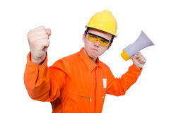 Builder with loudspeaker isolated Royalty Free Stock Photos