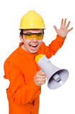 Builder with loudspeaker isolated on white Royalty Free Stock Images