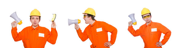 The builder with loudspeaker  on white Royalty Free Stock Photography