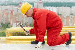 Builder making construction works Stock Image