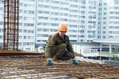 Builder making reinforcement Royalty Free Stock Photography