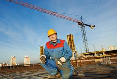 Builder making reinforcement for concrete Royalty Free Stock Photo