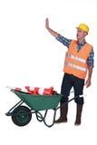Builder making stop gesture Royalty Free Stock Image