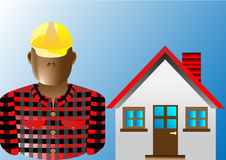 Builder man. And house  illustration Stock Images