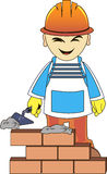 Builder man is building a brick wall Royalty Free Stock Photography