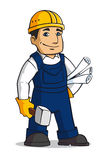 Builder man. In cartoon style with hammer and plans royalty free illustration