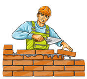 Builder man with derby tool building a brick wall. Illustration Royalty Free Stock Photo