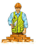 Builder man with derby tool building a wall Stock Photos