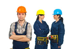 Builder man and his team of workers women Royalty Free Stock Images