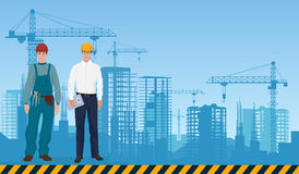 Builder man manager architect and worker on the constructions buildings background. Construction professions concept. Stock Images
