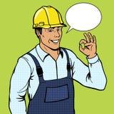 Builder man shows ok sign pop art style vector Royalty Free Stock Photos