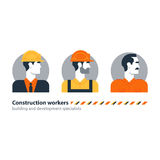 Builder man side view construction worker labor force, contractor occupation job Royalty Free Stock Photos