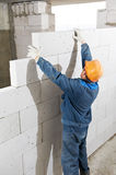 Builder mason worker bricklayer Stock Photos