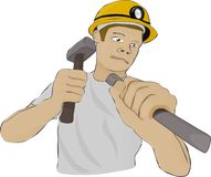 Builder or the miner works with hammer and chisel Stock Images