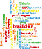 Builder multilanguage wordcloud background concept Royalty Free Stock Images