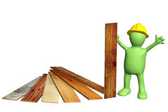 Builder with new parquet planks Stock Image