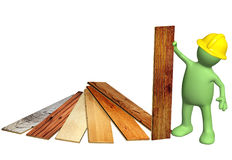 Builder with new parquet planks Stock Photo