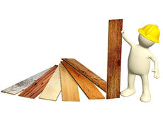 Builder with new parquet planks Stock Photos