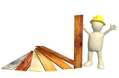 Builder with new parquet planks Royalty Free Stock Photography