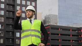 Builder new technology hologram template architecture workman  taskmaster. Future stock footage