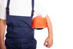 Builder with orange hardhat Stock Image