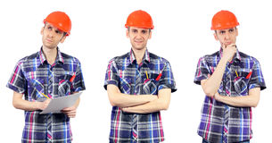 Builder with orange helmet isolated on white Royalty Free Stock Image