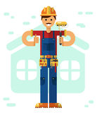 Builder with paint roller. Vector flat style illustration of smiling construction builder or worker with mustache in hardhat, standing with paint roller Royalty Free Stock Images