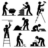 Builder people. Set black and white  icons of builders Royalty Free Stock Photography