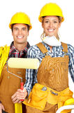 Builder people. Young builder people in yellow uniform. Isolated over white background royalty free stock image