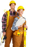 Builder people. Young builder people in yellow uniform. Isolated over white background stock photo