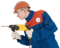 Builder and perforator Stock Photo