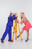 Builder pictures of girls Stock Photography