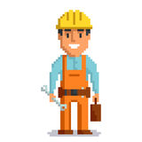Builder pixel art. Builder isolated on white background. Repair man with tools pixel game style illustration. Repairman vector pixel art design. funny 8 bit Stock Photo