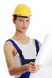 Builder with plans Royalty Free Stock Image