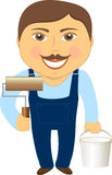 Builder with plaster roller and a bucket of paint Royalty Free Stock Image