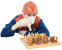 Builder play in chess Stock Photography