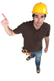 Builder pointing at copyspace Royalty Free Stock Photo