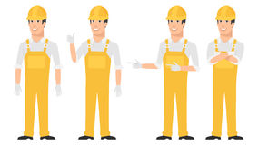 Builder pointing in various poses Stock Photography