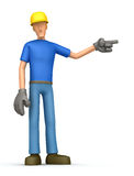 Builder points his finger in the side Royalty Free Stock Photography