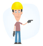 Builder points his finger at the top Stock Photography
