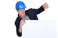 Builder promoting his business Stock Image