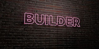 BUILDER -Realistic Neon Sign on Brick Wall background - 3D rendered royalty free stock image. Can be used for online banner ads and direct mailers Royalty Free Stock Photos