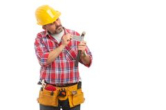 Builder repairing hammer with ducktape royalty free stock images