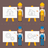 Builder and repairman indicate flip chart Royalty Free Stock Photography