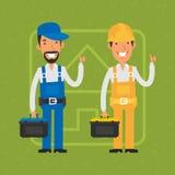 Builder and repairman show thumbs up Stock Photos