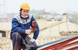 Builder roofer painter worker Royalty Free Stock Photography