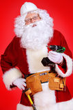 Builder santa claus stock photo